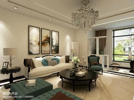 热门74平米二居客厅简欧装饰图片欣赏