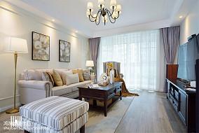2018面积106平美式三居客厅装修实景图片大全