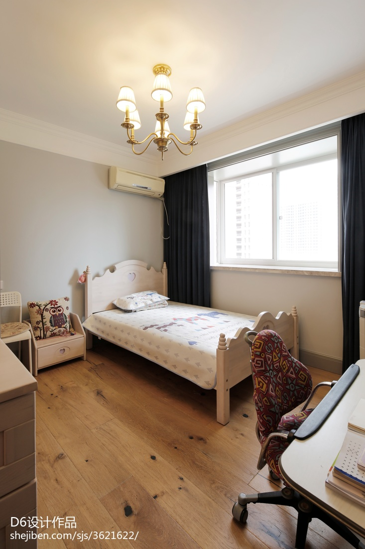 简约美式儿童房设计效果图卧室窗帘美式经典卧室设计图片赏析