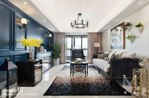 平米二居客厅美式装修效果图片大全客厅窗帘101-120m²美式经典家装装修案例效果图