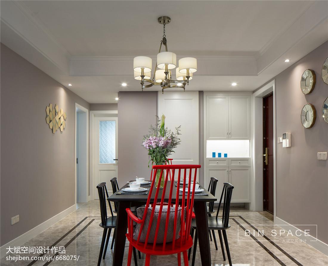 热门105平米三居餐厅美式装修实景图片厨房美式经典餐厅设计图片赏析