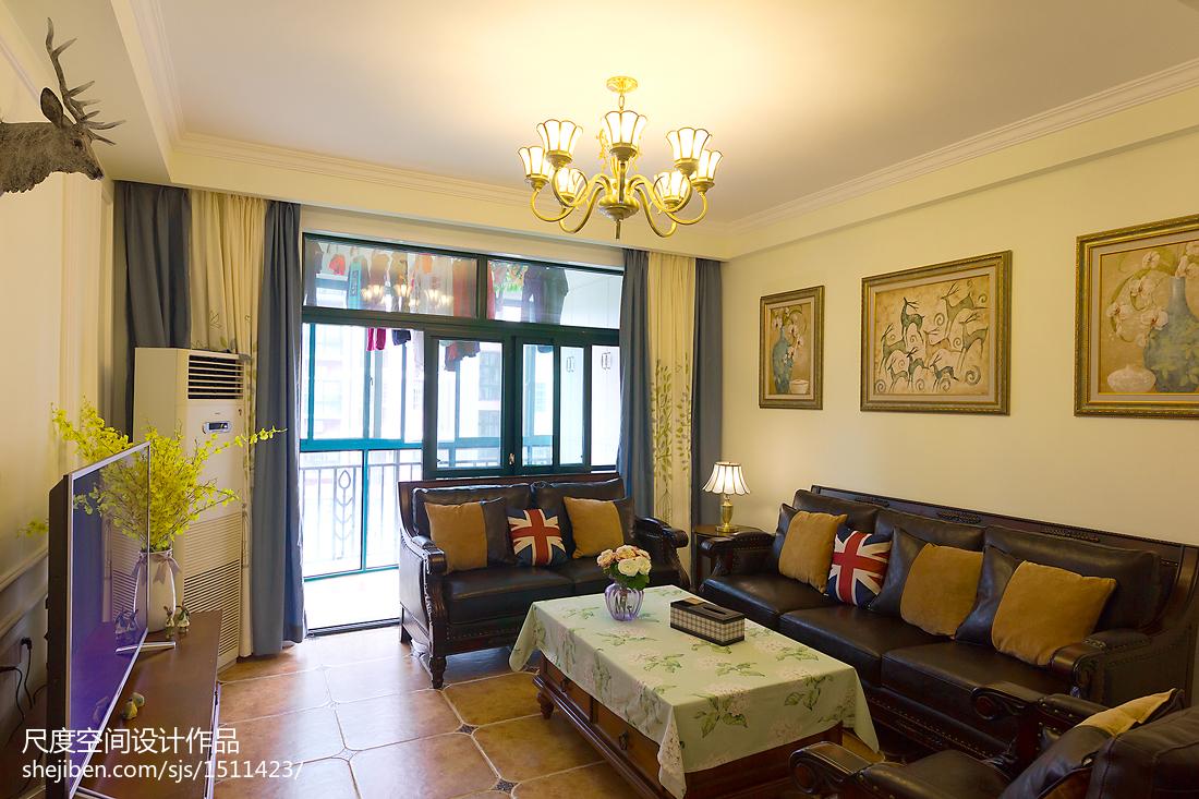 精选90平方三居客厅美式装饰图片欣赏客厅窗帘美式经典客厅设计图片赏析