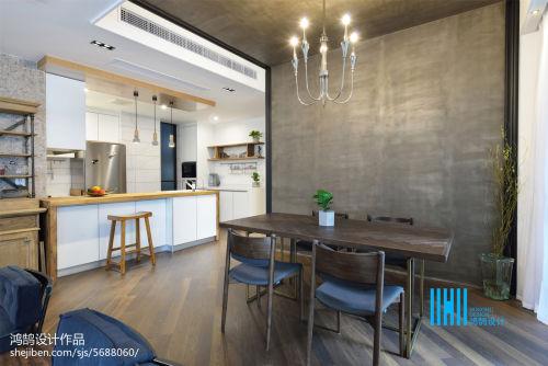 平方三居餐厅混搭装修实景图片大全厨房吧台