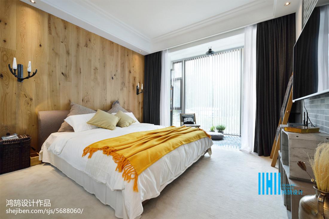 精美102平方三居卧室混搭装修设计效果图片卧室床潮流混搭卧室设计图片赏析