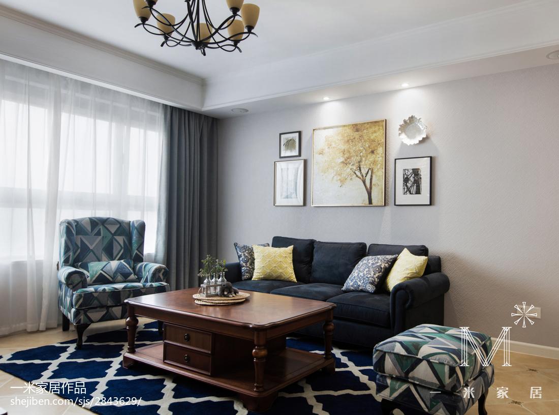 精美96平方三居客厅美式装修效果图片大全121-150m²三居美式经典家装装修案例效果图