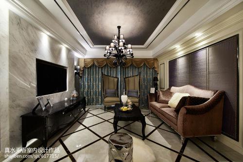 2018精选面积114平新古典四居客厅装饰图客厅窗帘151-200m²四居及以上美式经典家装装修案例效果图