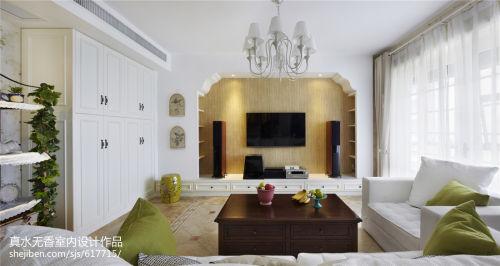 面积90平田园二居客厅装饰图客厅窗帘81-100m²二居美式田园家装装修案例效果图