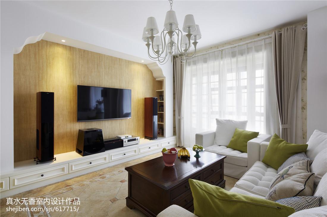 田园风格客厅背景墙设计客厅美式田园客厅设计图片赏析