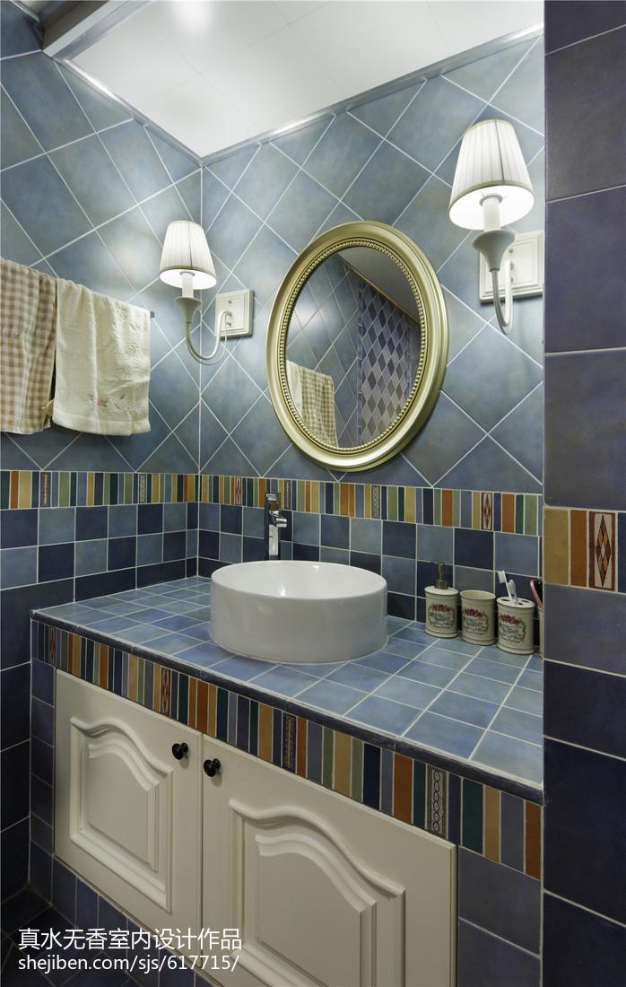 精致田园风格卫浴设计卫生间洗漱台美式田园卫生间设计图片赏析