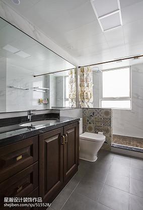 2018三居卫生间中式装修设计效果图片大全