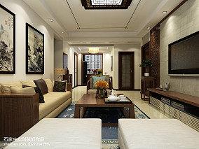 简美后现代简约客厅效果图