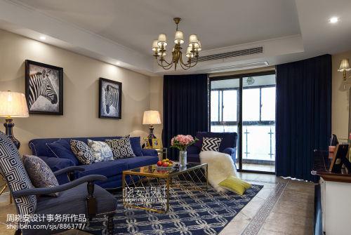 优美160平美式四居客厅案例图客厅窗帘151-200m²四居及以上美式经典家装装修案例效果图