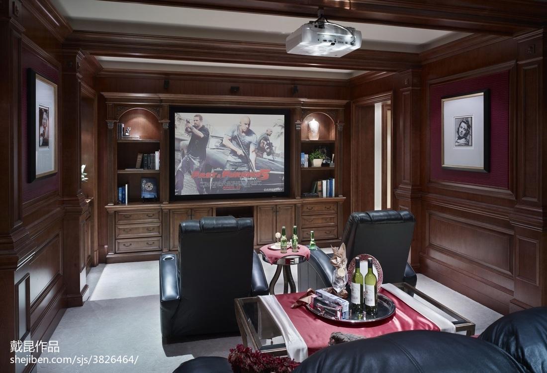 家装欧式别墅视听室设计功能区电视背景墙欧式豪华功能区设计图片赏析