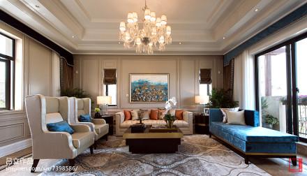 精选127平方新古典别墅客厅装修欣赏图片别墅豪宅美式经典家装装修案例效果图