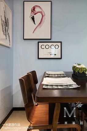 温馨102平现代三居餐厅装饰图101-120m²三居现代简约家装装修案例效果图