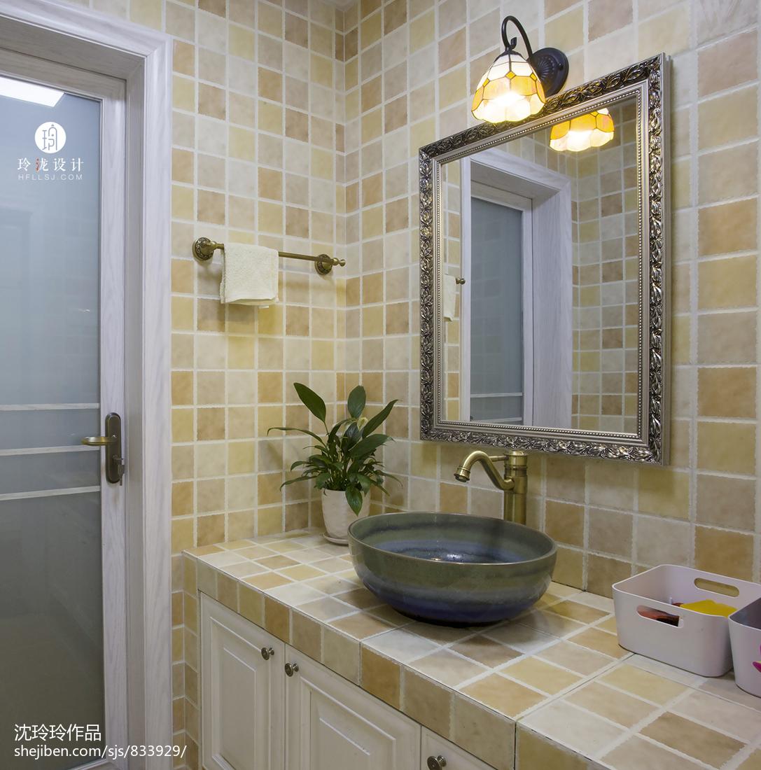 2018精选美式复式卫生间装饰图片欣赏卫生间洗漱台美式经典卫生间设计图片赏析