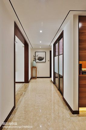 优雅76平中式三居玄关设计图