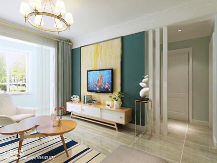 精选面积90平北欧三居客厅装修实景图片大全