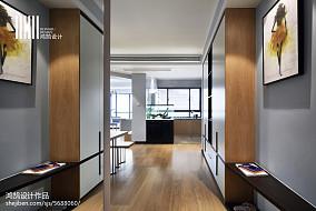 2018精选现代三居玄关装修图片大全101-120m²三居现代简约家装装修案例效果图
