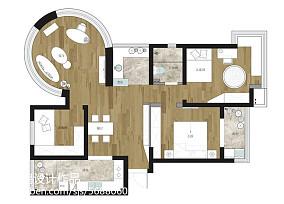 优雅71平现代三居装修设计图101-120m²三居现代简约家装装修案例效果图