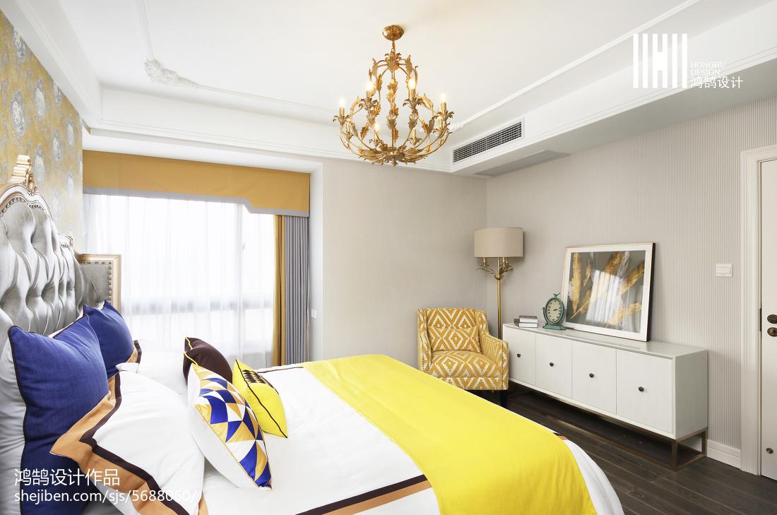 2018精选面积108平混搭三居卧室装修设计效果图片卧室窗帘潮流混搭卧室设计图片赏析