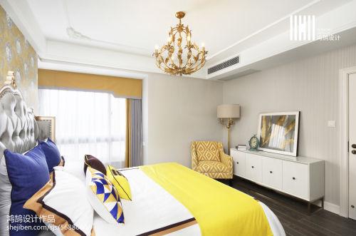 2018精选面积108平混搭三居卧室装修设计效果图片卧室窗帘2图