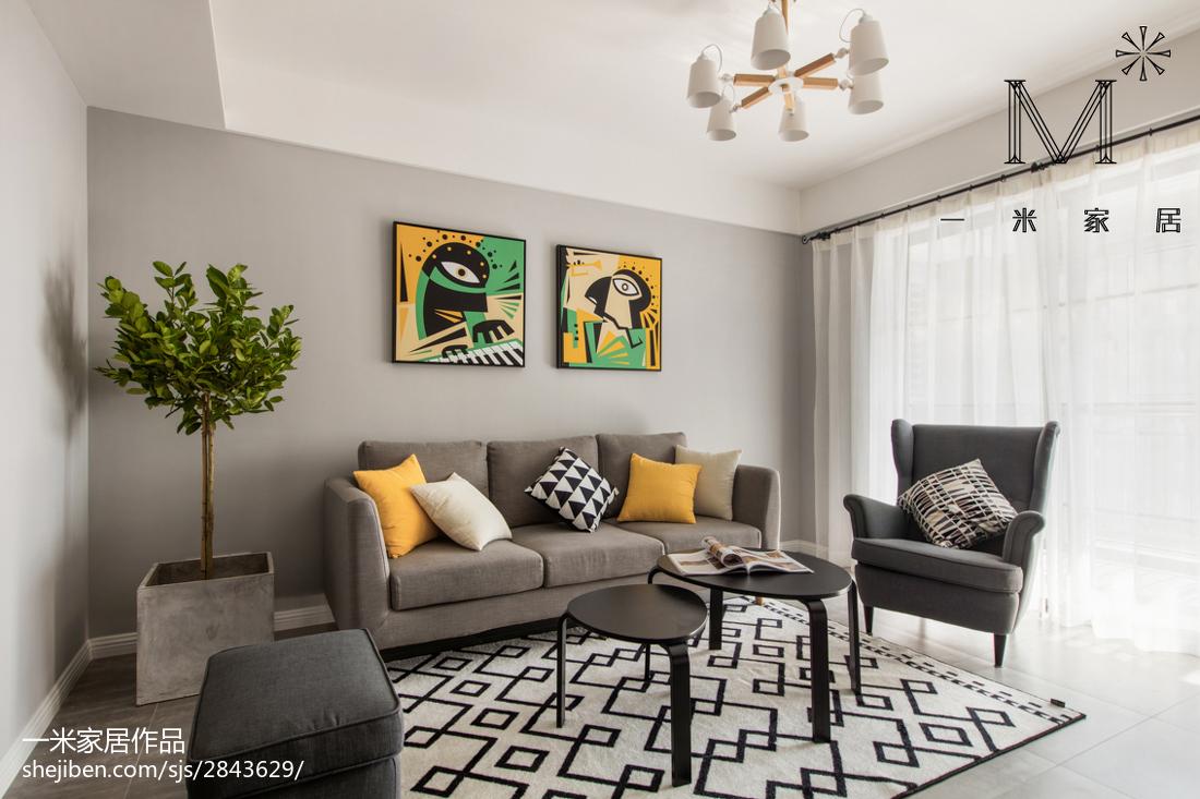 平米三居客厅北欧装修欣赏图三居北欧极简家装装修案例效果图