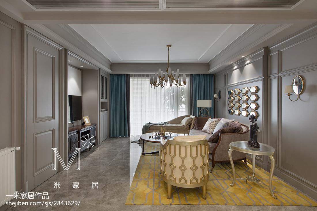 热门三居新古典效果图客厅窗帘美式经典客厅设计图片赏析