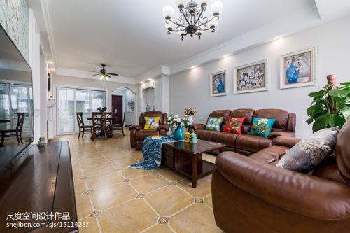 2018精选面积91平美式三居客厅装修欣赏图客厅背景墙121-150m²三居家装装修案例效果图