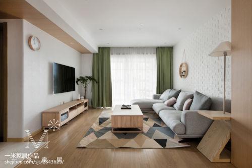 2018面积98平日式三居客厅效果图片客厅窗帘121-150m²三居日式家装装修案例效果图