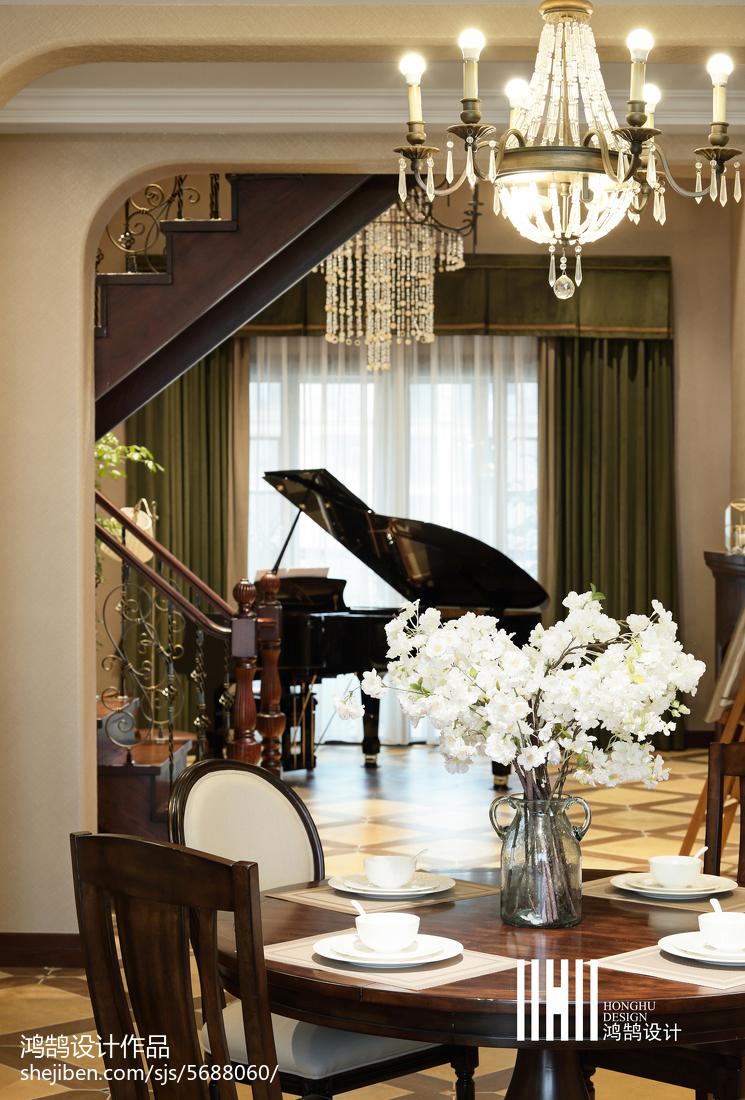 平米美式复式休闲区效果图厨房美式经典餐厅设计图片赏析
