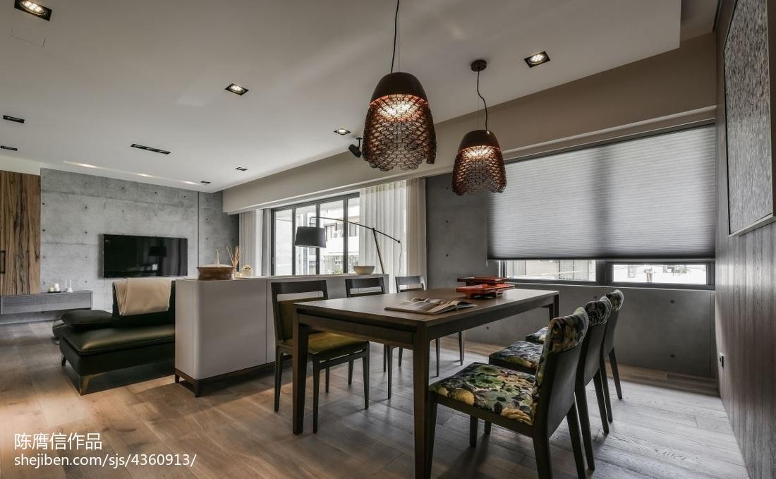 精致114平现代三居装修装饰图厨房窗帘现代简约餐厅设计图片赏析