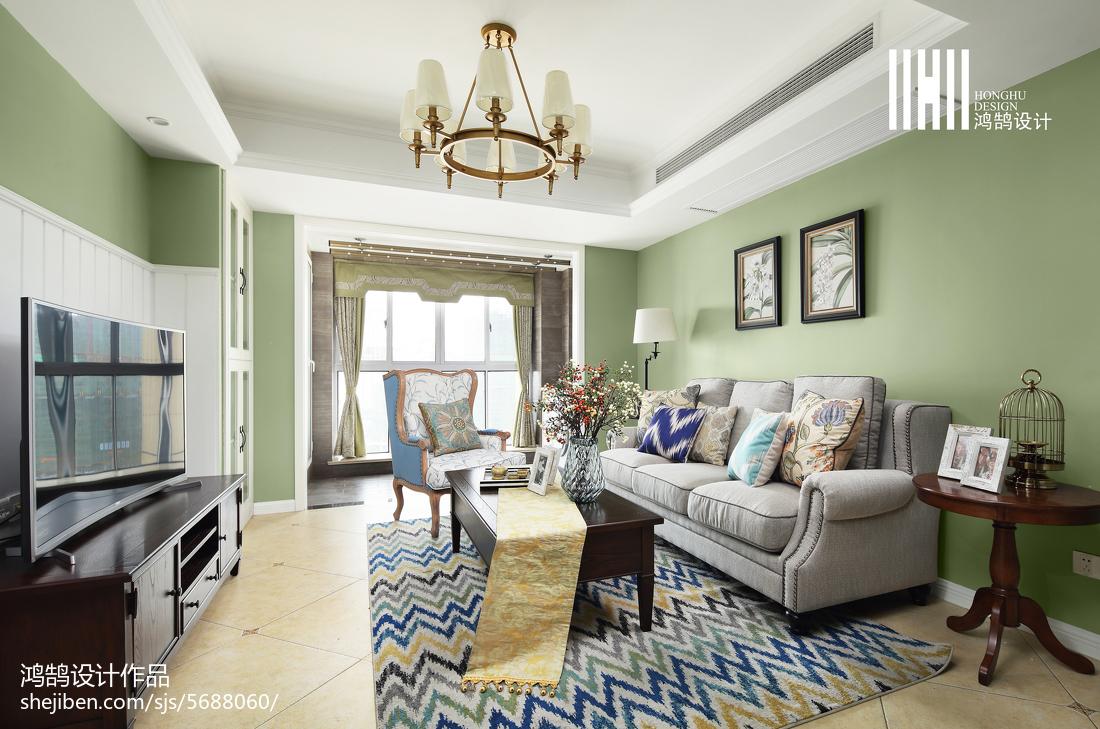 悠雅129平美式三居装修美图客厅美式经典客厅设计图片赏析