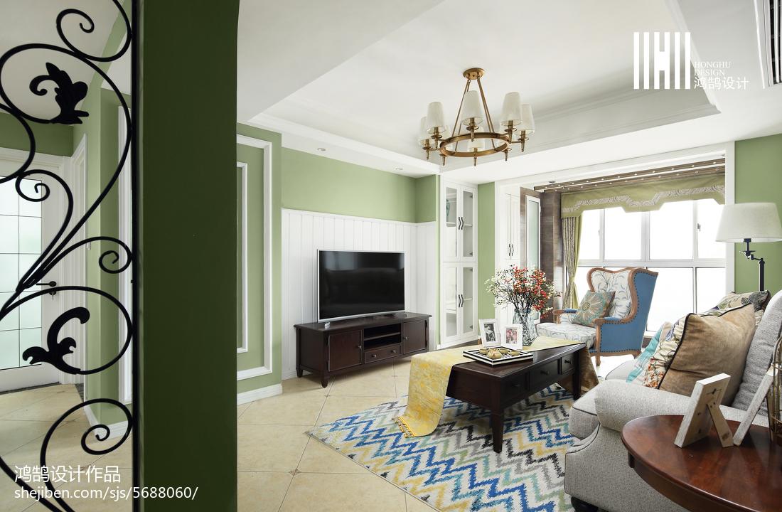 热门面积106平美式三居客厅装修图片客厅