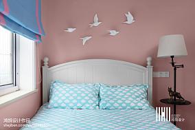 2018面积100平美式三居卧室效果图片欣赏三居美式经典家装装修案例效果图