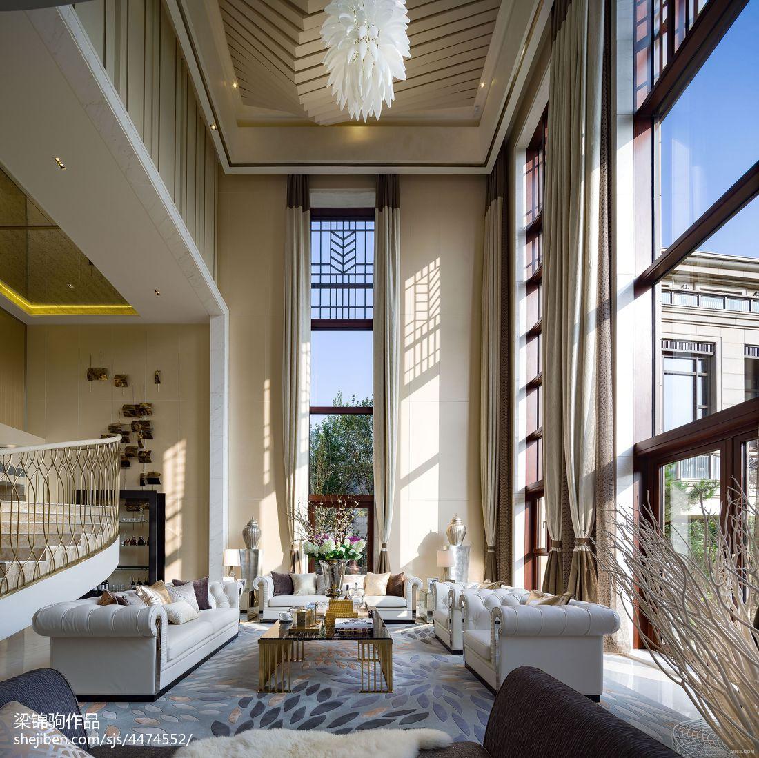 质朴845平现代别墅客厅装修图片客厅窗帘现代简约客厅设计图片赏析