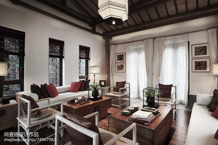 2018140平米中式别墅客厅装修图片欣赏别墅豪宅中式现代家装装修案例效果图