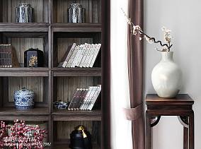 热门面积116平别墅书房中式效果图片别墅豪宅中式现代家装装修案例效果图
