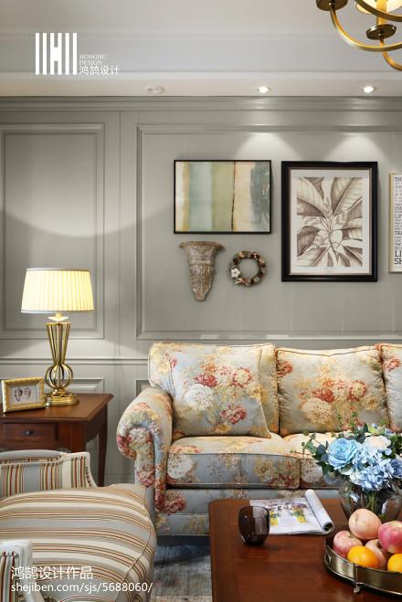 面积140平美式四居客厅欣赏图片