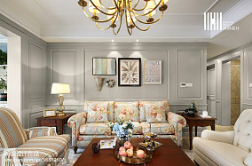 热门四居客厅美式实景图四居及以上美式经典家装装修案例效果图