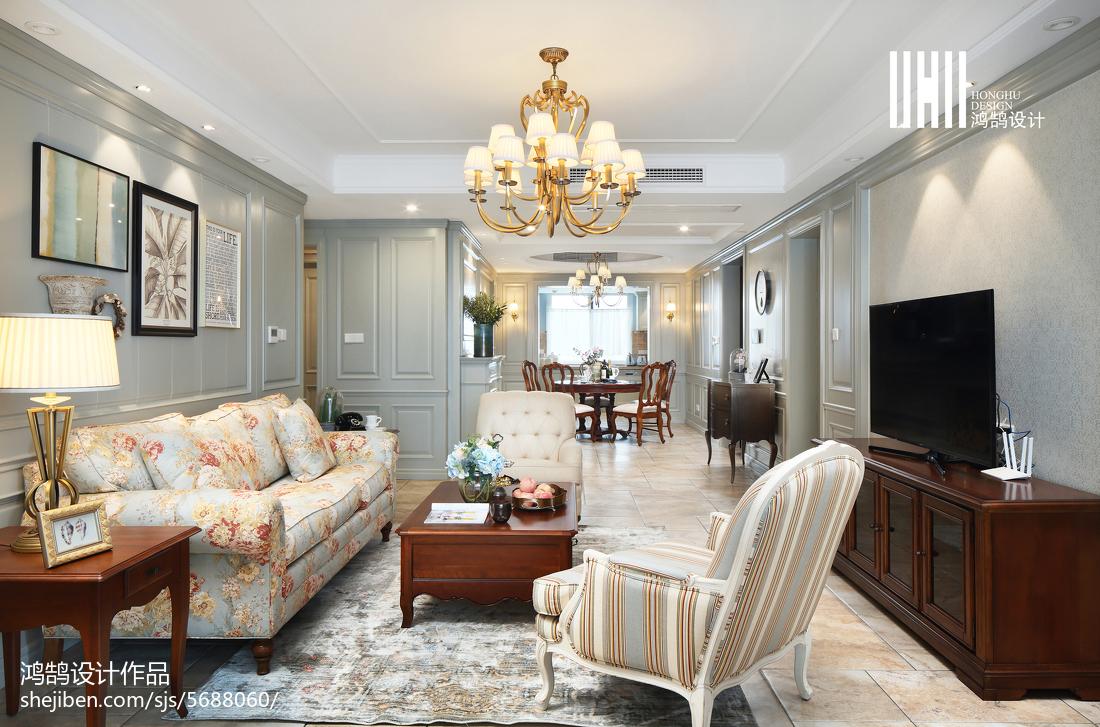 精美面积135平美式四居客厅装修图片大全客厅美式经典客厅设计图片赏析