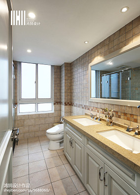 优雅126平美式四居卫生间实拍图四居及以上美式经典家装装修案例效果图