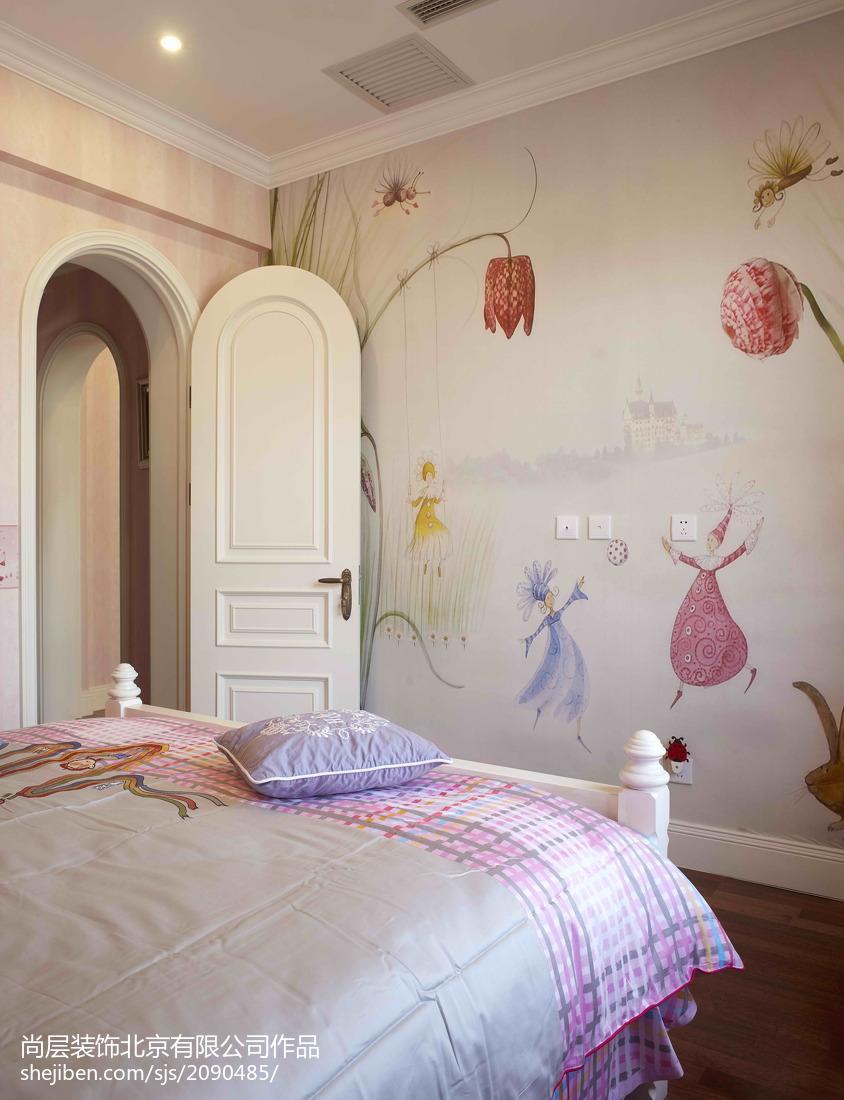 热门面积142平别墅儿童房混搭装修实景图片卧室木地板潮流混搭卧室设计图片赏析
