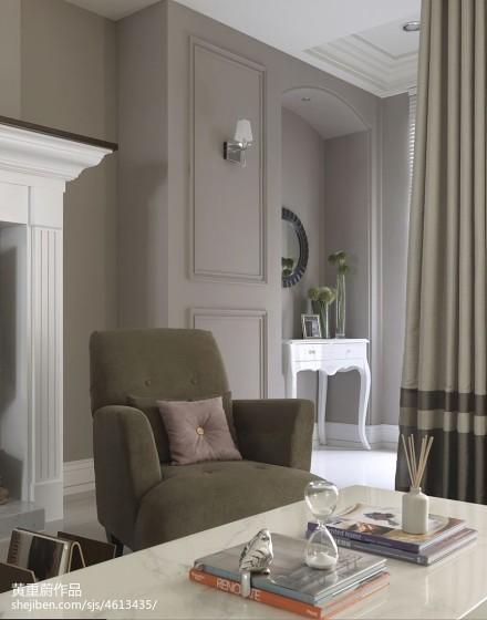 2018三居客厅新古典装饰图三居美式经典家装装修案例效果图