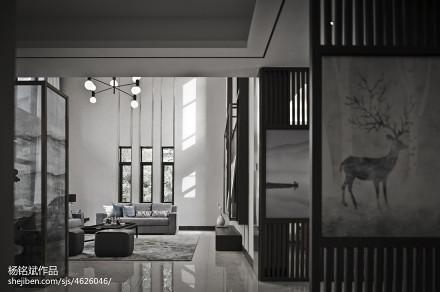 2018面积113平别墅客厅混搭装修图片