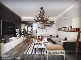 热门面积86平北欧二居客厅效果图片大全