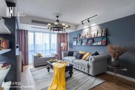 面积103平美式三居客厅实景图片欣赏客厅