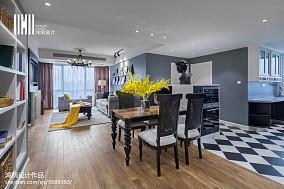 2018精选面积91平美式三居餐厅实景图片101-120m²三居美式经典家装装修案例效果图