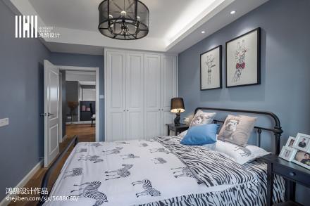 2018面积104平美式三居卧室装修图卧室