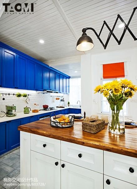 2018地中海别墅厨房装修实景图片餐厅1图